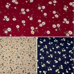 100% Cotton Corduroy Fabric Ditsy Daisies Floral Flowers Polka Dots Daisy Cord