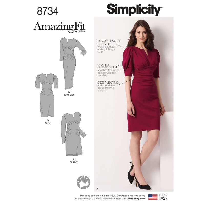 Simplicity Pattern 8734 Misses & Plus Size Ruched Dress Amazing Fit Sewing Pattern