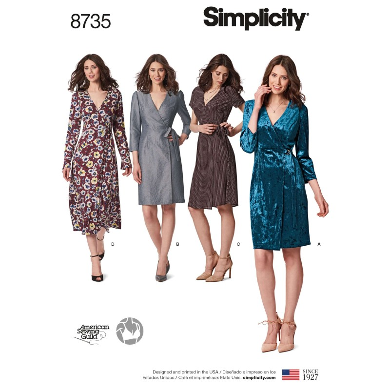 Simplicity Pattern 8735 Misses & Miss Petite Wrap Dresses Sewing Pattern