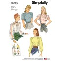 Simplicity Pattern 8736 Women's Vintage Blouses Shirts Sewing Pattern