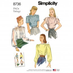 Simplicity Sewing Pattern 8736 Women's Vintage Blouses Shirts