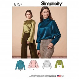 Simplicity Pattern 8737 Women's Poetry Blouses Shirts High Collar Sewing Pattern