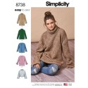 Simplicity Pattern 8738 Misses Knit Mini Dress, Tunic or Top Sewing Pattern