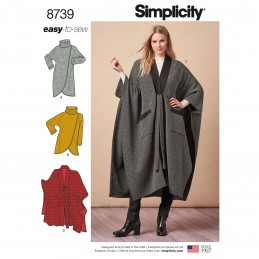 Simplicity Pattern 8739 Misses Duster Poncho or Wrap Sweater Sewing Pattern