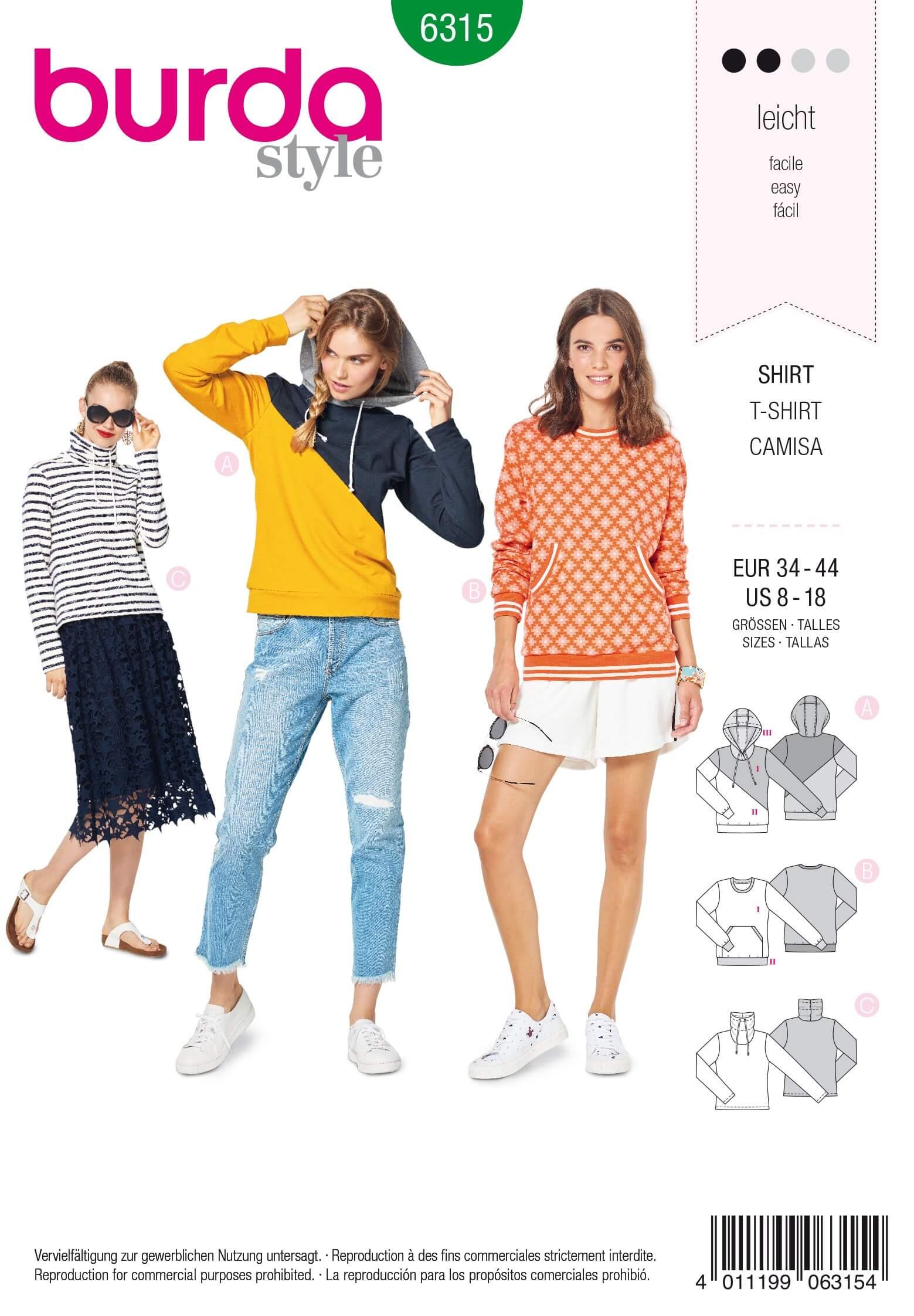 Burda Style Misses Hoodie Sweatshirt Jacket Coat Casual Wear Sewing Pattern 6315