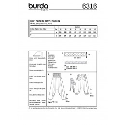 Burda Style Misses' Vacation Harem Trousers Holiday Casual Sewing Pattern 6316