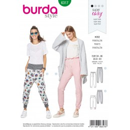 Burda Sewing Pattern 6317 Style Misses' Jogging Bottoms Pull On Trousers Casual