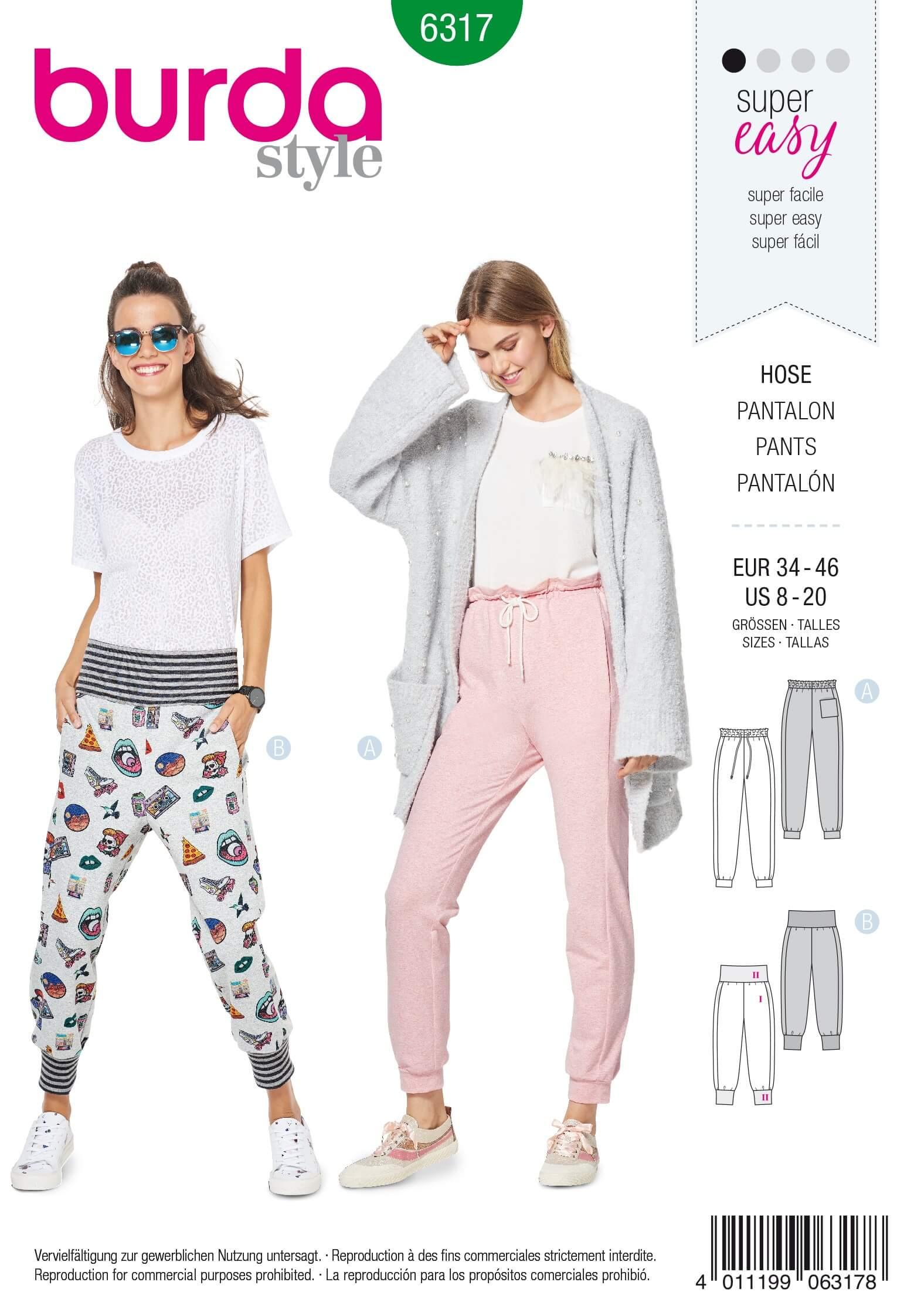 Burda Style Misses' Jogging Bottoms Pull On Trousers Casual Sewing Pattern 6317