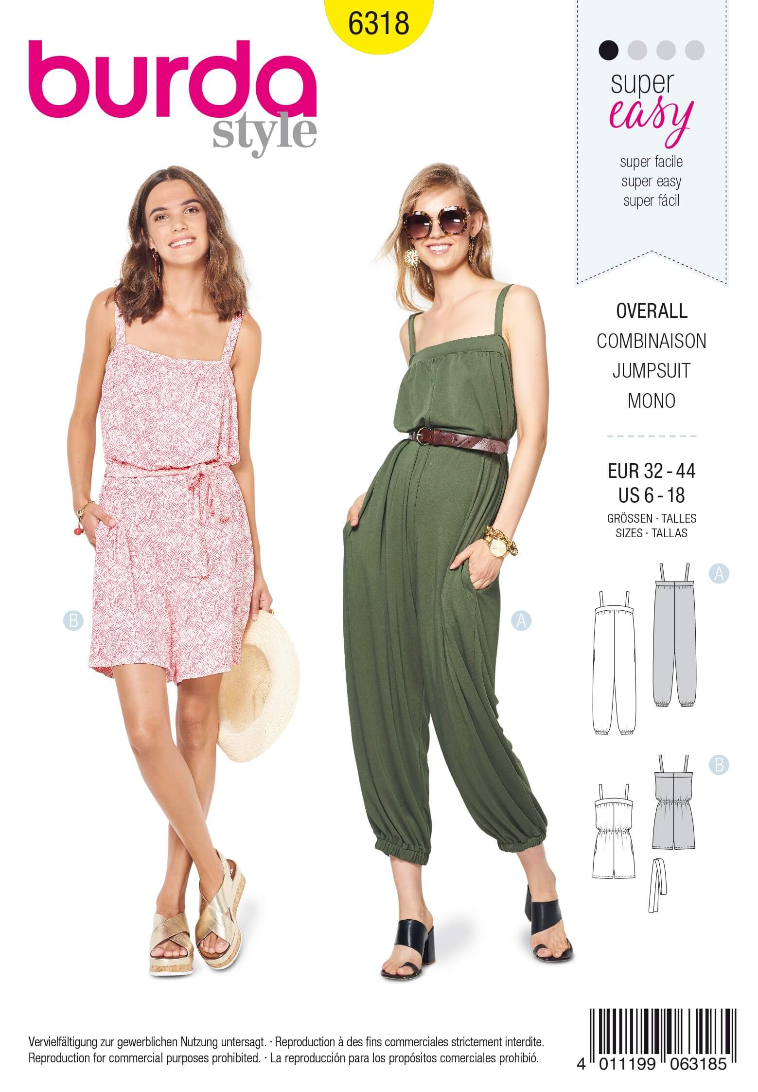 Burda Style Misses' Jumpsuit Romper Onesie Summer Wear Sewing Pattern 6318