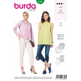 Burda Style Misses Blouse With Yoke Lace Sleaves Summer Wear Sewing Pattern 6323