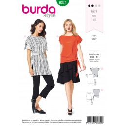 Burda Style Misses' Side Tie Top Over-Cut Shoulders Casual Sewing Pattern 6324