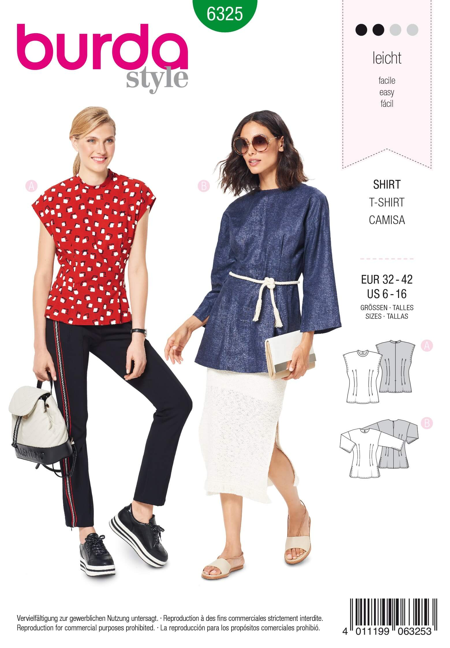 Burda Style Misses' Top With Fitted Waist Line Casual Wear Sewing Pattern 6325