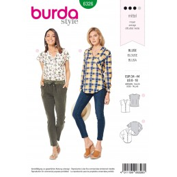 Burda Style Misses' Shirt With V Neck Blouse Top Sewing Pattern 6326