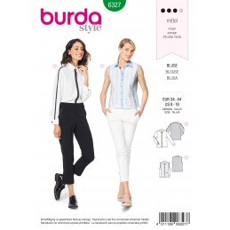 Burda Style Misses' Shirt in Blouse Style Top Cuffed Sleeves Sewing Pattern 6327
