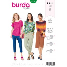 Burda Style Misses' Feminine Raglan Top Pleated Neckline Sewing Pattern 6329
