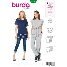 Burda Style Misses' Sporty Top Over-Cut Shoulders Sewing Pattern 6330