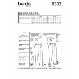 Burda Style Misses' Highwaisted Pleated Trousers Smart Wear Sewing Pattern 6332
