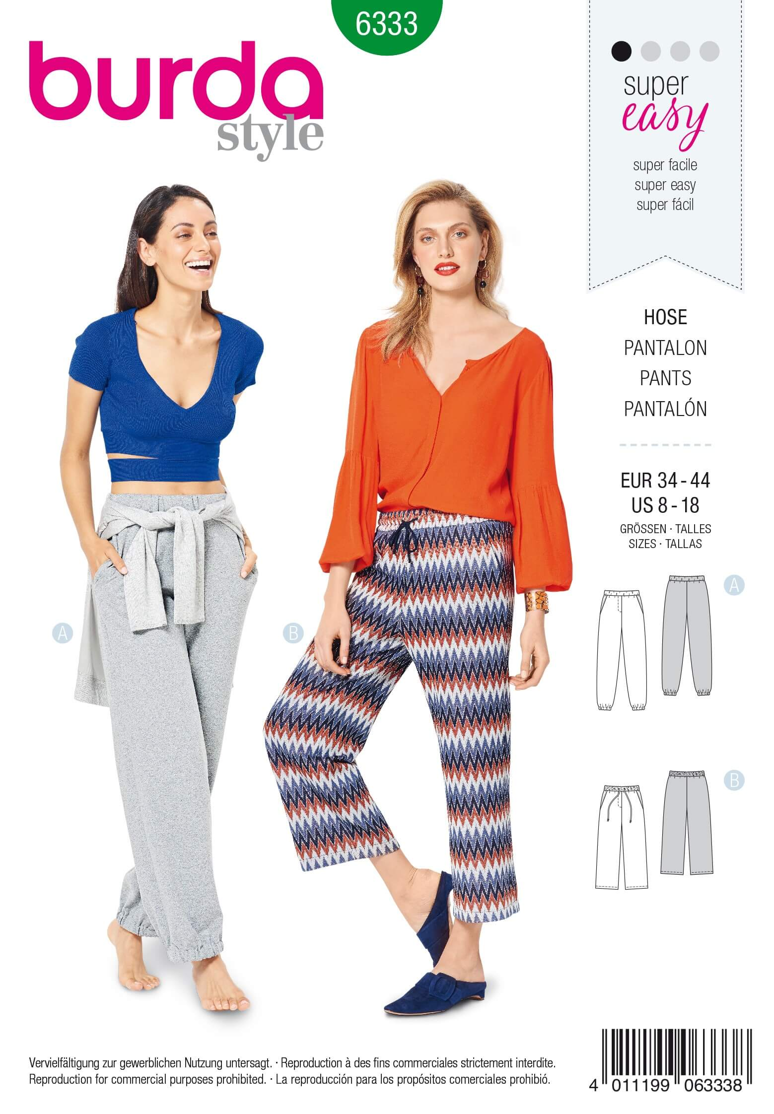 Burda Style Misses Jogging Trousers Elasticated Comfort Wear Sewing Pattern 6333