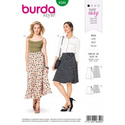 Burda Style Misses' Flared Wrap Skirt in Two Lengths Summer Sewing Pattern 6340