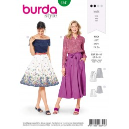 Burda Style Misses' Inverted Pleat Skirt in 2 Lengths Summer Sewing Pattern 6341