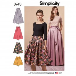Simplicity Pattern 8743 Misses Multi Length Full Pleat Skirts Sewing Pattern