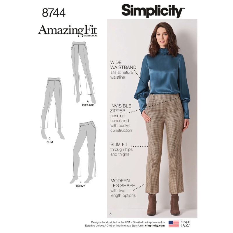 Simplicity Pattern 8744 Misses Amazing Fit Bootleg Trousers Sewing Pattern