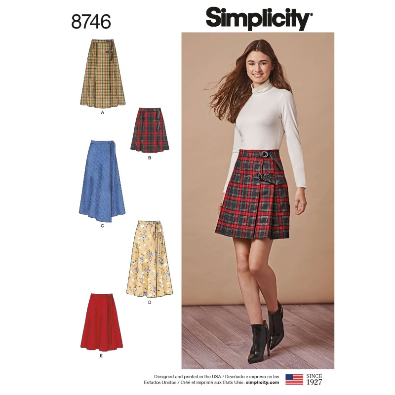 Simplicity Pattern 8746 Misses Wrap Skirts with Belt Options Sewing Pattern