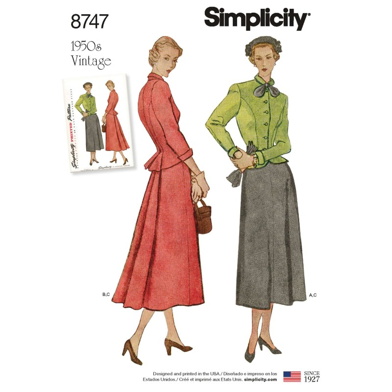Simplicity Pattern 8747 Misses Vintage Jacket & Skirt Suit Sewing Pattern