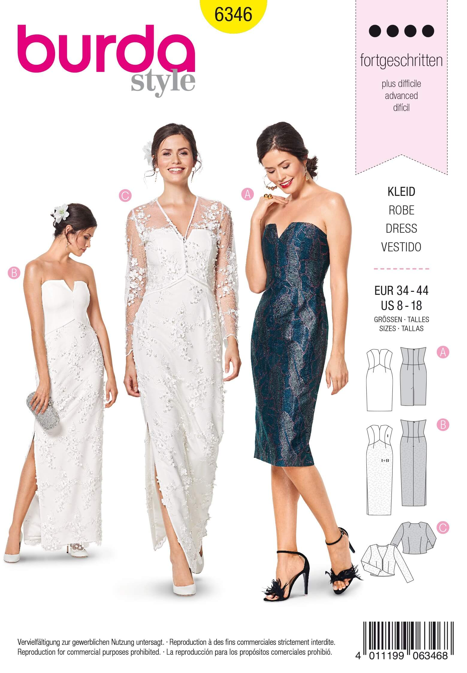 Burda Style Misses' Bustier Dress V Neck Special Occasion  Sewing Pattern 6346