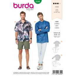 Burda Men's Shirt With Collar Long & Short Sleeve Sewing Pattern 6349