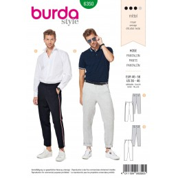 Burda Mens Trousers with Angled Pockets Casual & Formal Wear Sewing Pattern 6350