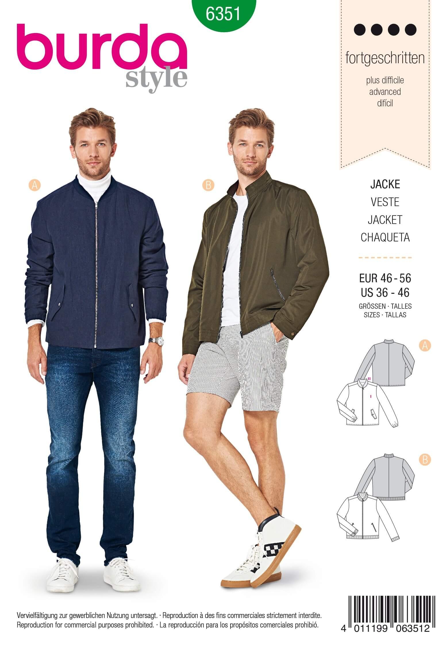 Burda Men's Blouson Jacket Coat Outdoor Clothing Sewing Pattern 6351