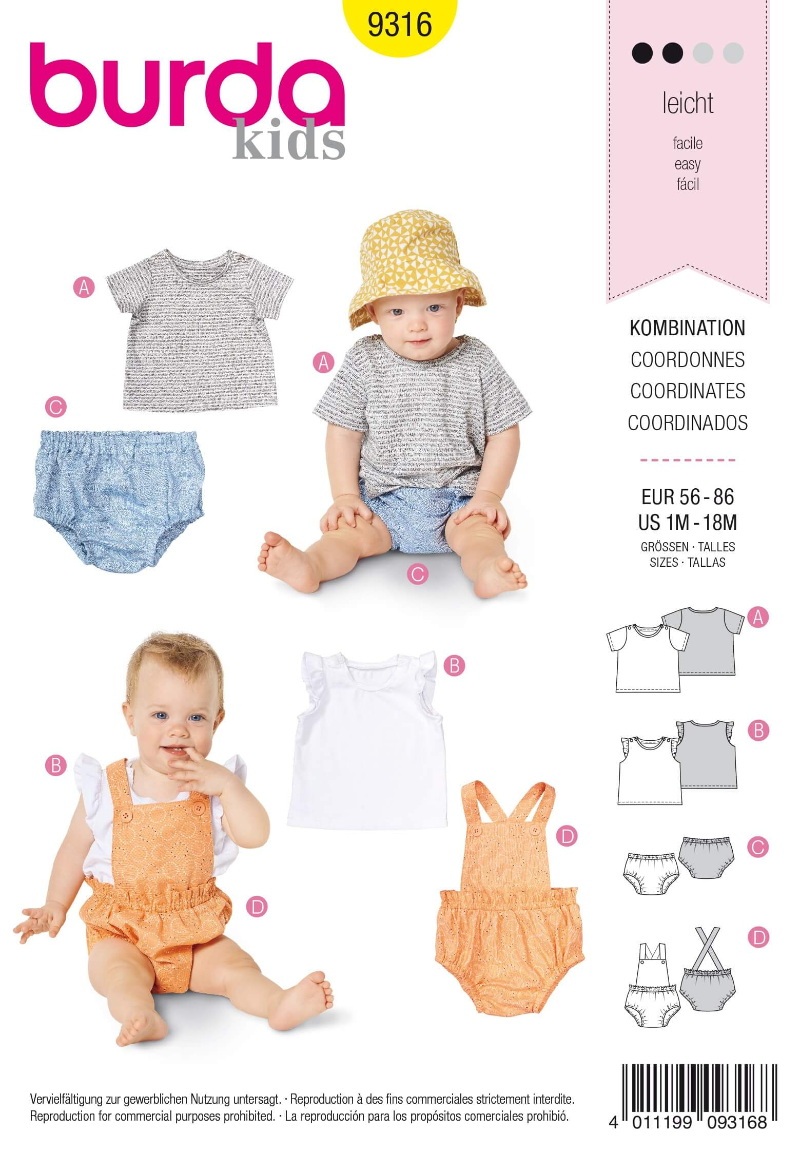Burda Baby's Top & Bottoms Set Overall Style Sewing Pattern 9316
