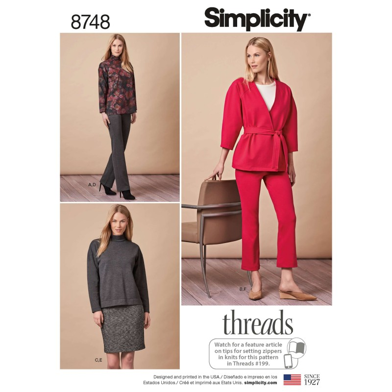 Simplicity Pattern 8748 Misses Separates Tops Skirts Trousers Sewing Pattern