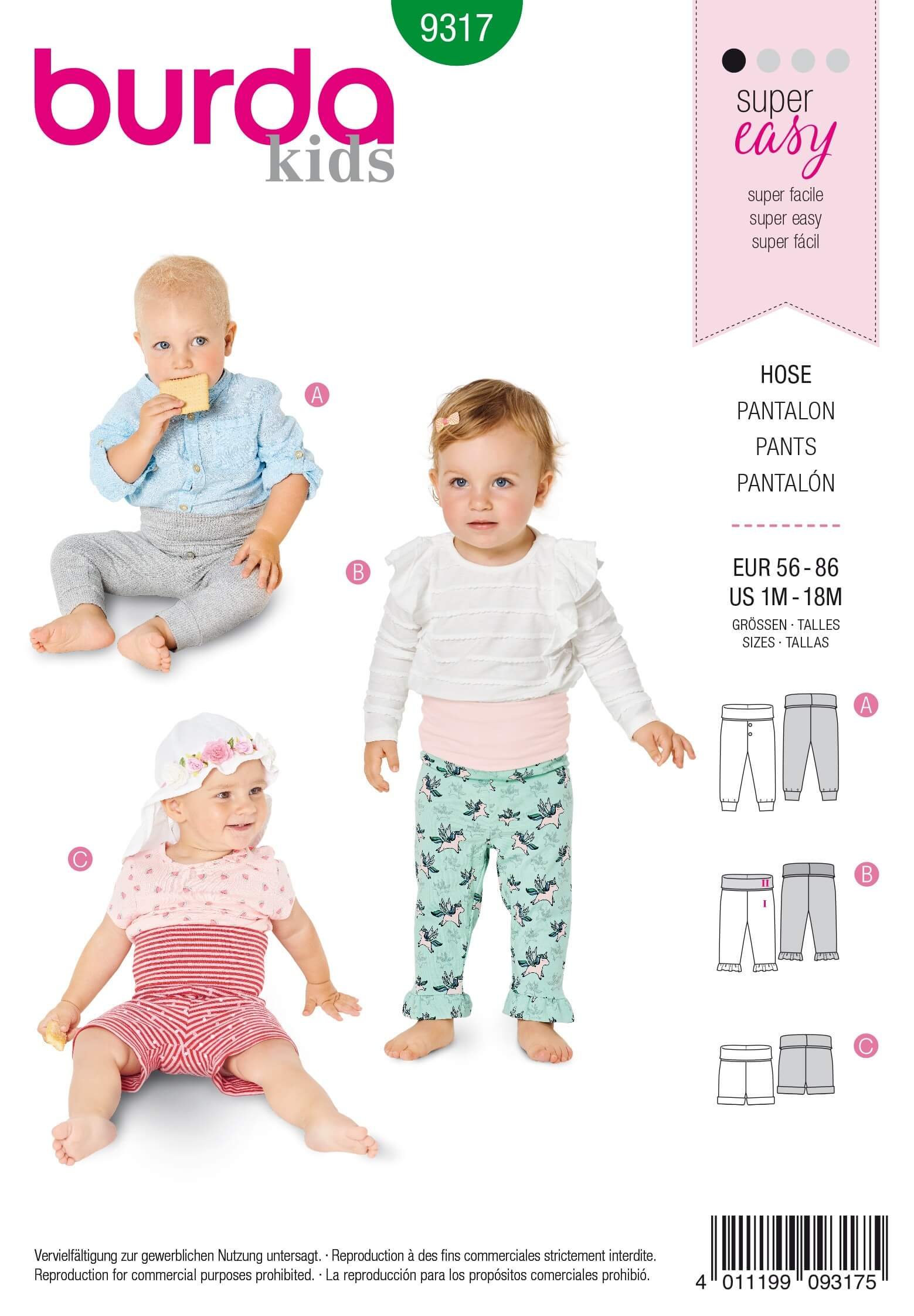 Burda Baby's Slip On Bottoms Trousers Shorts Sewing Pattern 9317