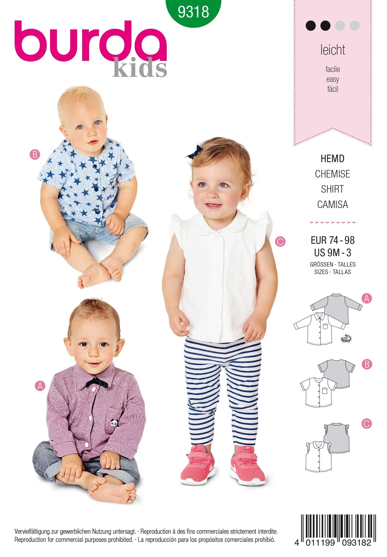 Burda Baby's Shirt With Bow Tie Blouse Formal Wear Sewing Pattern 9318