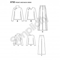 Simplicity Pattern 8750 Misses Wide Leg Trousers & Gathered Top Sewing Pattern
