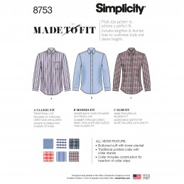 Simplicity Pattern 8753 Men's Classic, Modern or Slim Fit Shirts Sewing Pattern