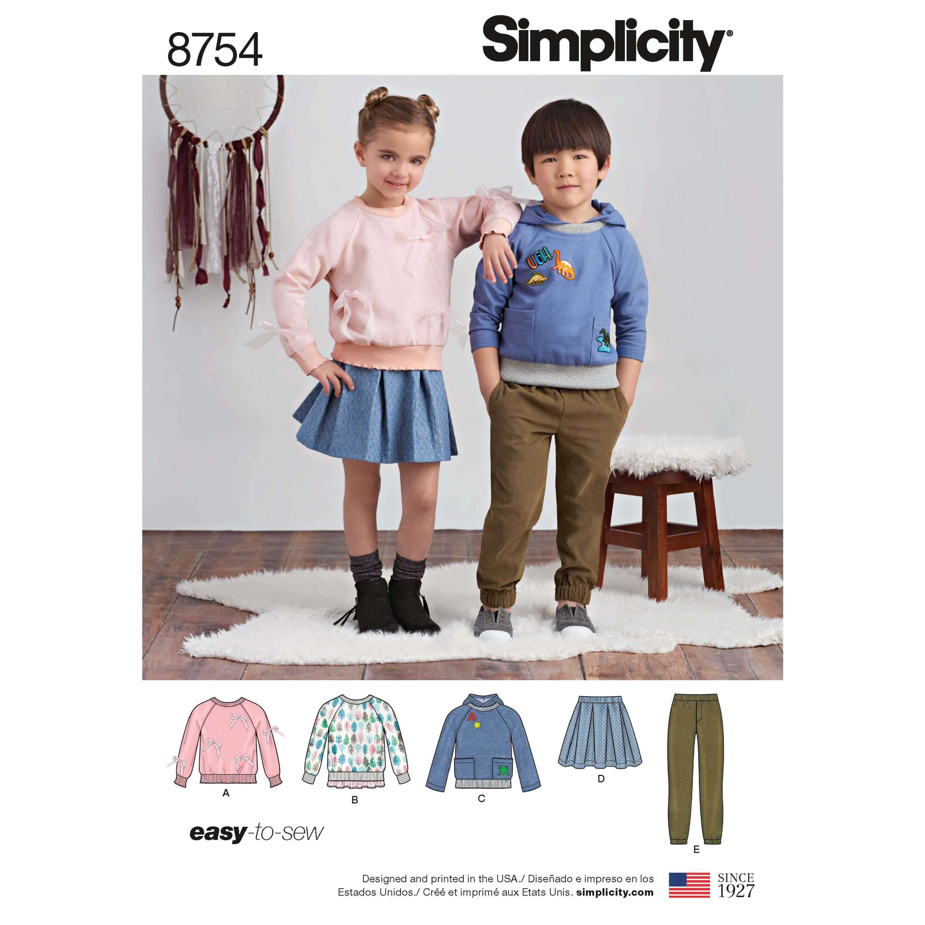 Simplicity Sewing Pattern 8754 Children's Trousers, Skirt and Sweatshirt