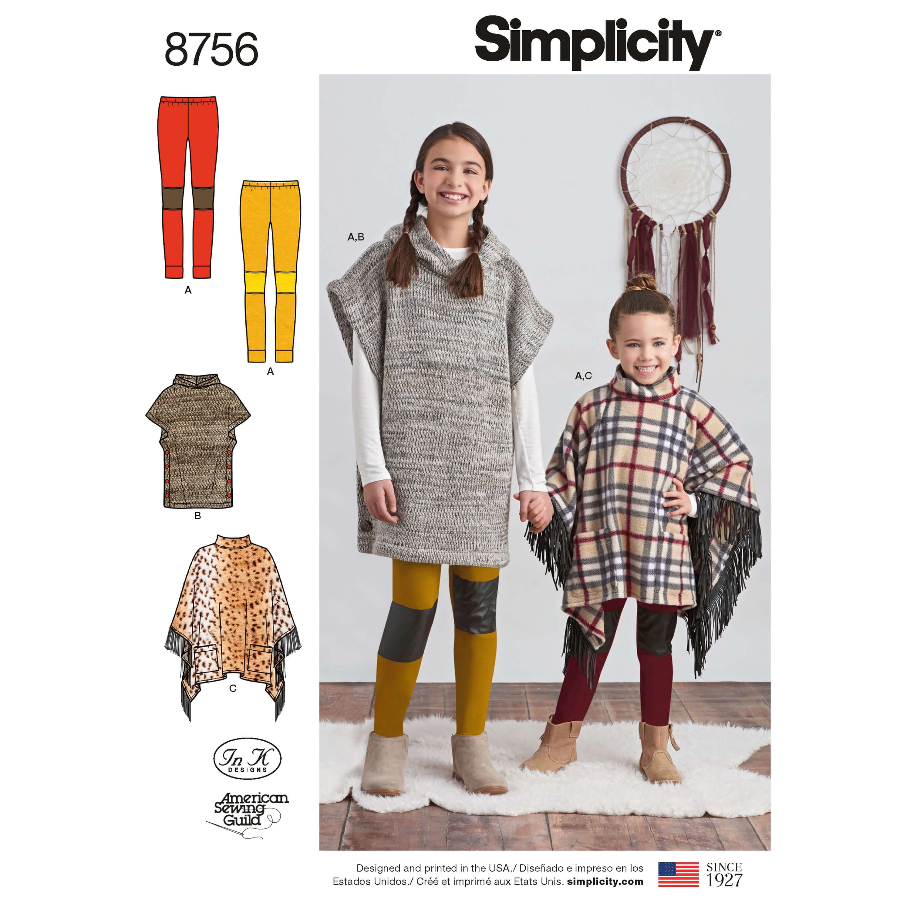 Simplicity Sewing Pattern 8756 Child and Girls Poncho & Leggings