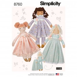 Simplicity Sewing Pattern 8760 Stuffed Dolls Children's Toys by Elaine Heigl
