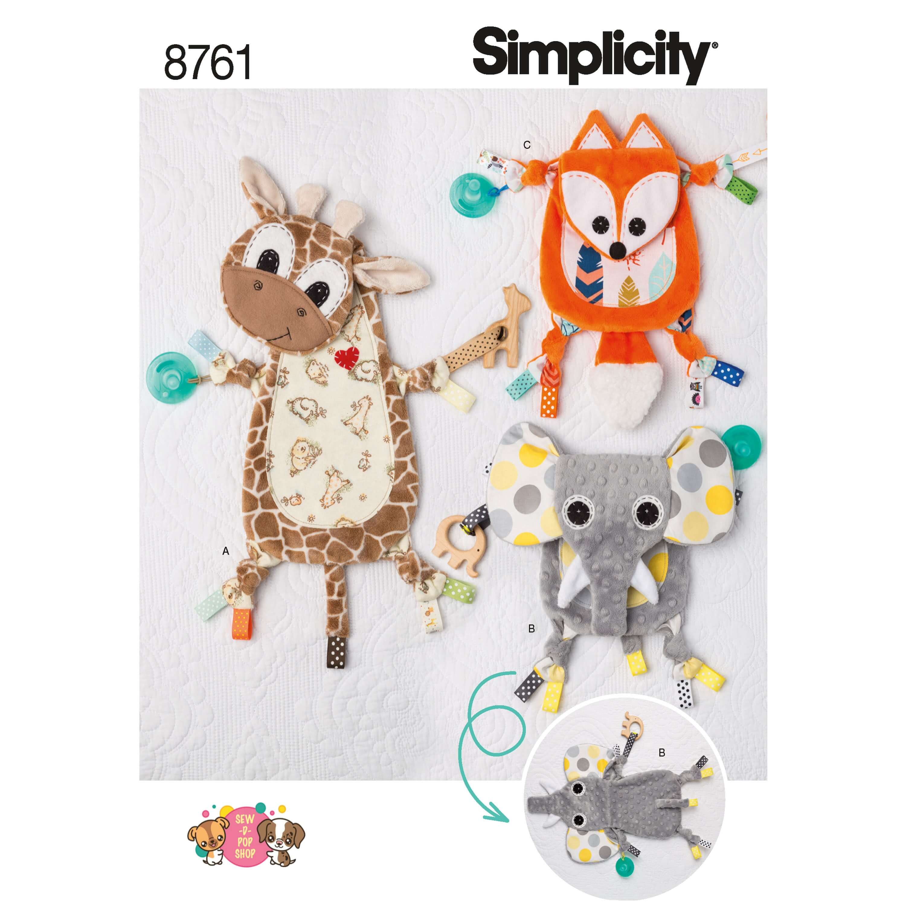 Simplicity Sewing Pattern 8761 Baby Animal Sensory Blankets Comforter