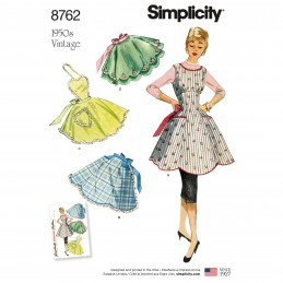 Simplicity Sewing Pattern 8762 Women's Vintage 1950s Aprons