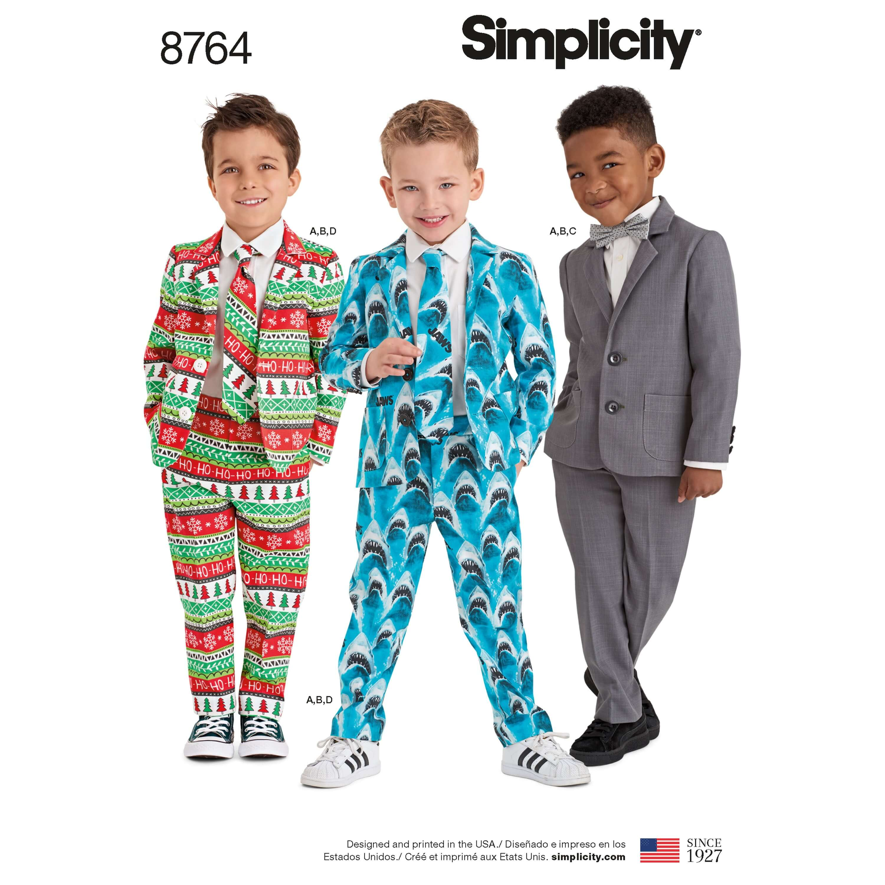 Simplicity Sewing Pattern 8764 Boy's Special Occasion Suits and Ties