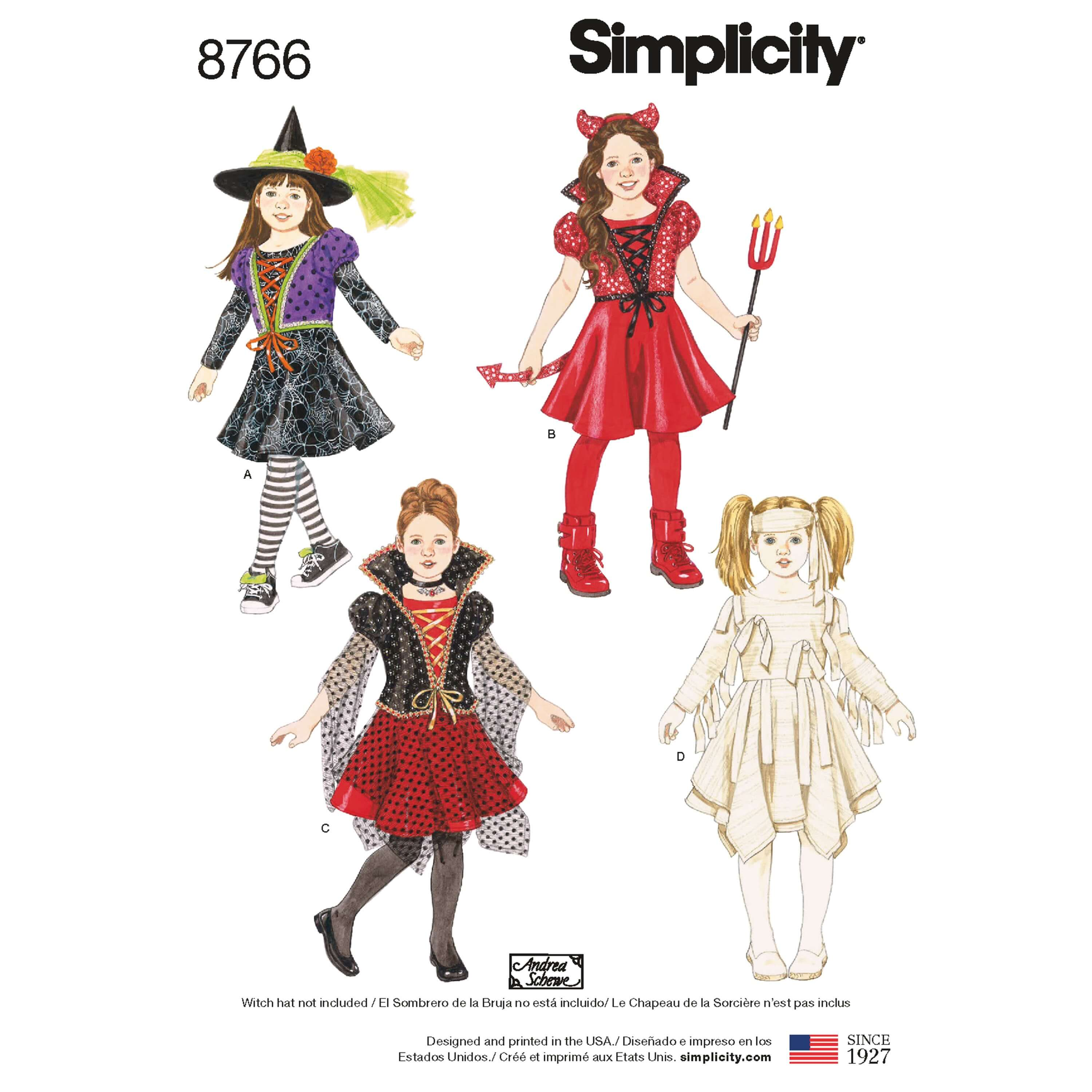 Simplicity Sewing Pattern 8766 Girls Halloween Costumes Witch Devil Mummy