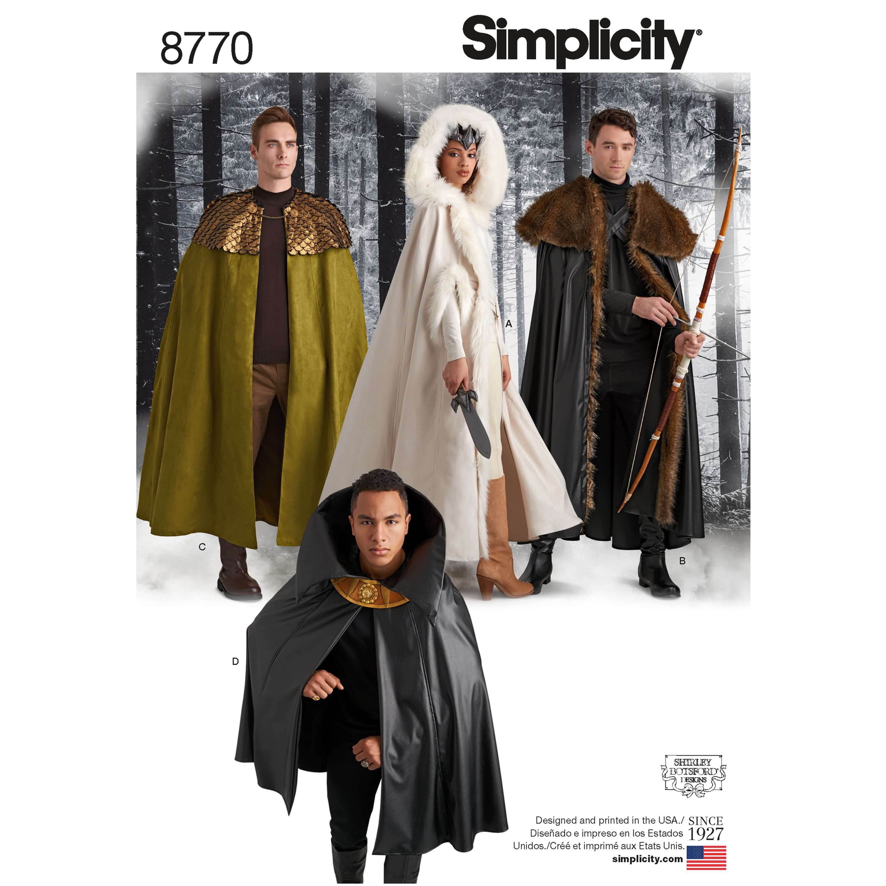 Simplicity Sewing Pattern 8770 Adult Unisex Costume Cosplay Cloaks and Capes