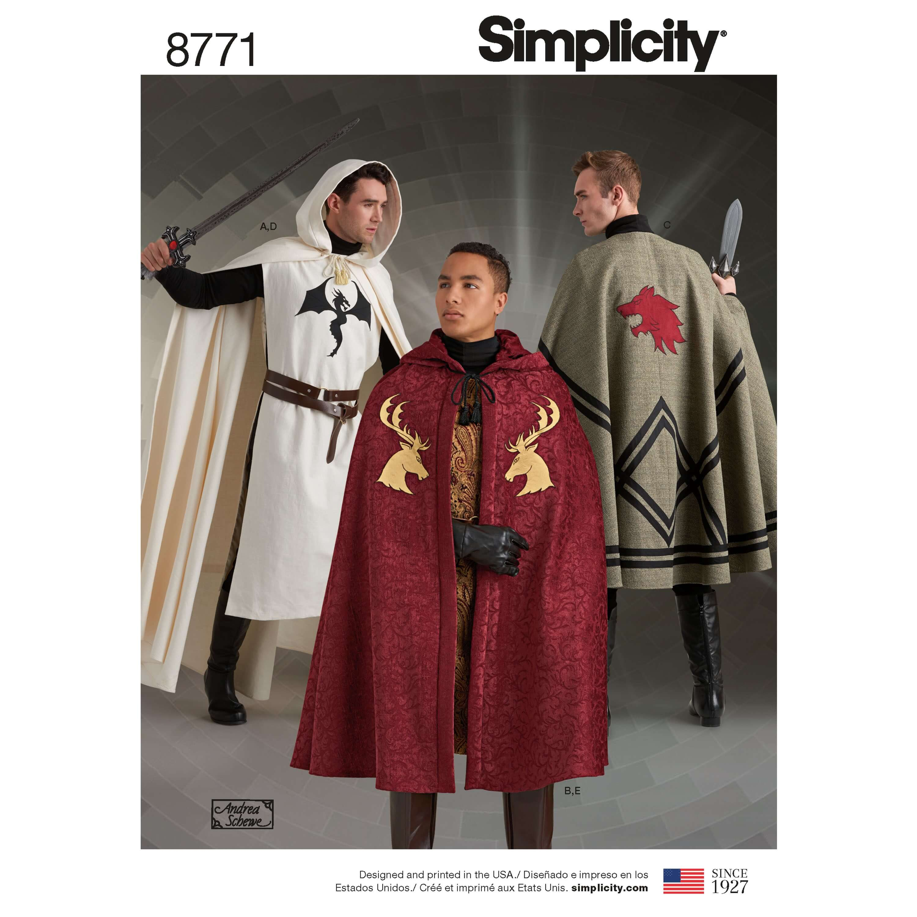 Simplicity Sewing Pattern 8771 Adult Unisex Costume Cosplay Multi Length Capes