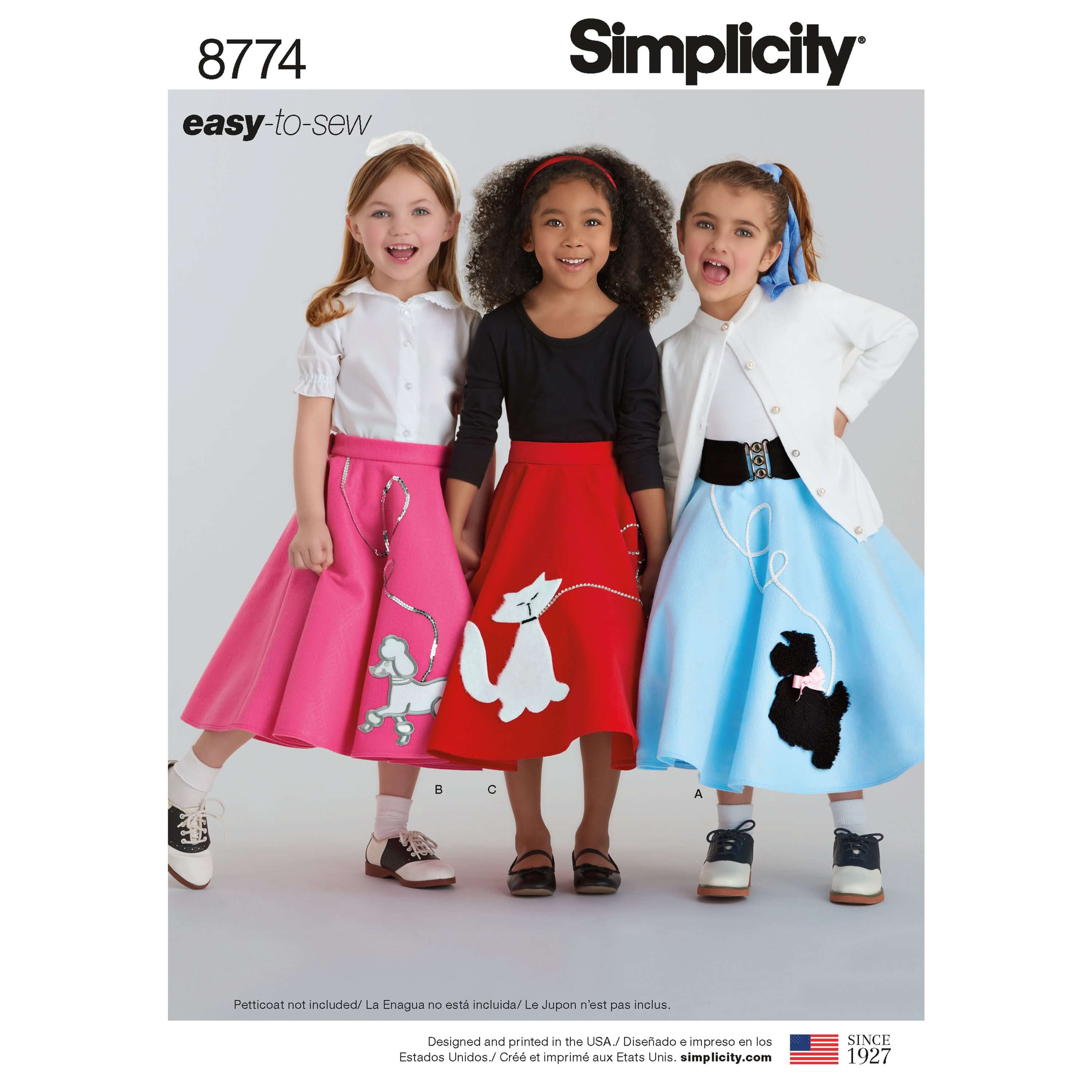 Simplicity Sewing Pattern 8774 Child and Girls Poodle Skirts 50s Costume