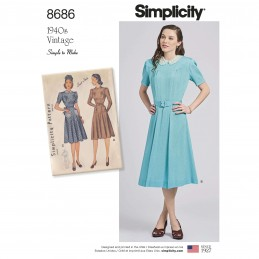 Simplicity Sewing Pattern 8686 Women's Vintage 1940s Dress Simple to Sew