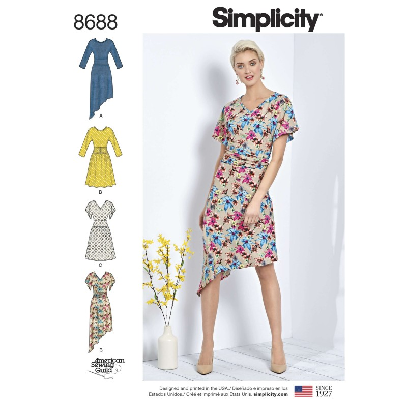 Simplicity Sewing Pattern 8688 Women's Ruched Waist Knit Dresses